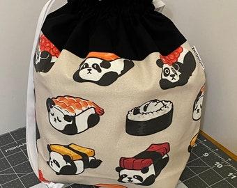 Sushi pandas -- large fully-lined cotton drawstring knitting project bag