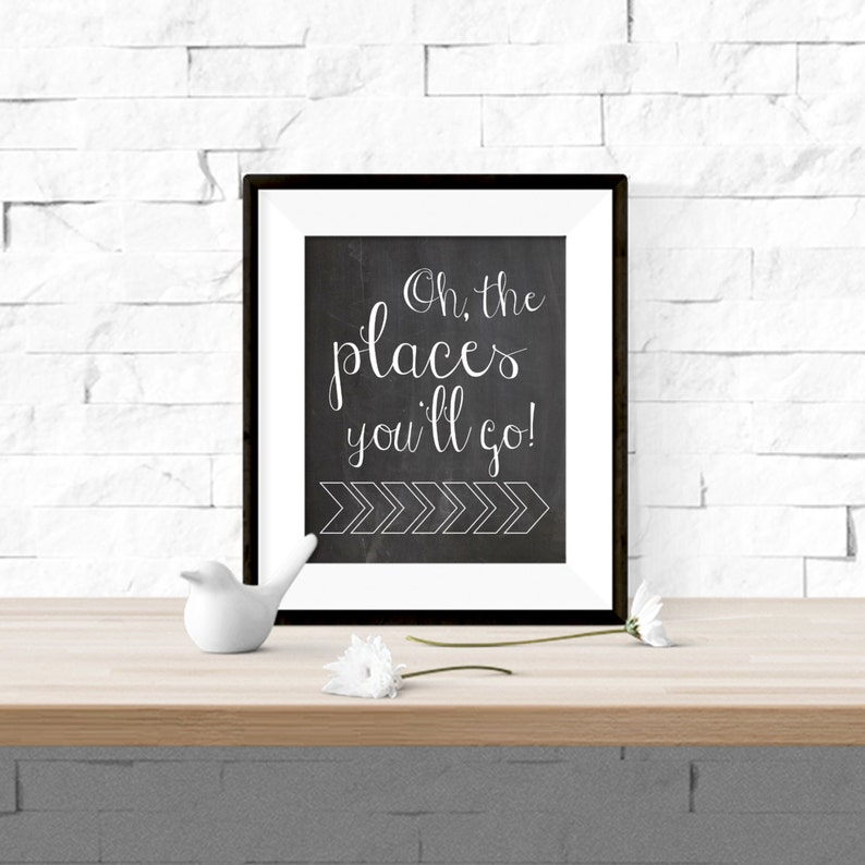 picture regarding Oh the Places You'll Go Arrows Printable titled Oh The Areas Youll Move Chalkboard with Arrows Printable Dr. Suess Nursery Art - 8x10 Electronic Obtain
