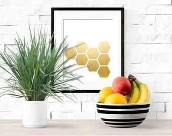 Gold Honeycomb Printable  Artwork - 8x10 Digital Download