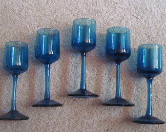Mid Century Aperitif or Cordial Glasses Vintage AND Handmade Stemware Lot of 5 Blown Teal Blue Glass