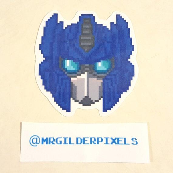Transformers Optimus Prime Pixel Art 3 Laminated Sticker