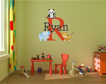 Q531 Zoo Animals Cool Kids Bedroom Window Wall Decal 3D Art Stickers Vinyl Room