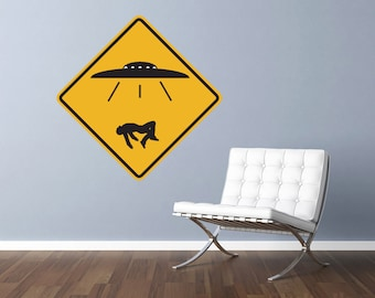 """UFO Alien Abduction Traffic Sign Repositionable Wall Decal 29""""x29"""" Home Decor"""