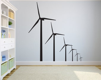 """Windmills Renewable Energy Wind Turbine Wall Decal for Home or Office 48"""" x 54"""""""