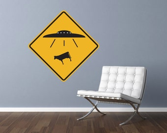 """UFO Alien Cow Abduction Traffic Sign Repositionable Wall Decal 12""""x12"""" Home Decor"""