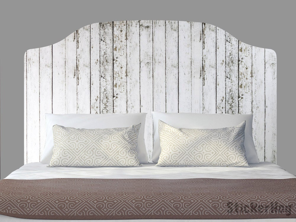 Distressed White Wooden Fence King Size Headboard Decal ...