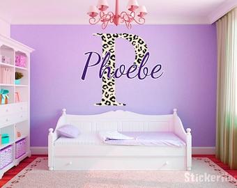 "Leopard Print Monogram Name Girls Room Vinyl Wall Decal Graphics 35"" Tall Bedroom Decor"
