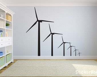 """Windmills Renewable Energy Wind Turbine Wall Decal for Home or Office 36"""" x 38"""""""