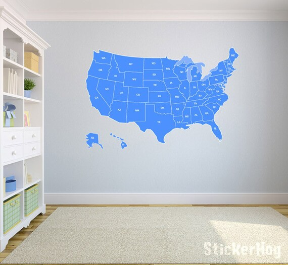 United States Map Wall Decal US Map Vinyl Art Wall Decal   Etsy