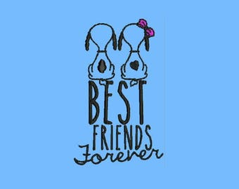 Best Friends Forever Machine Embroidery Designs - Instant Download Outline Design 564