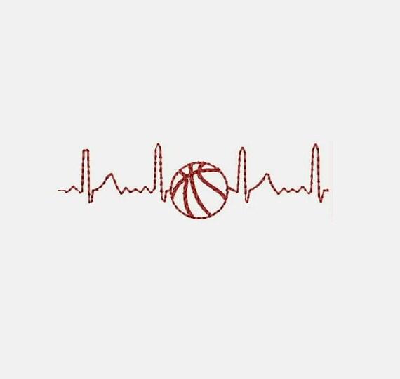 Electrocardiograma corazón amor baloncesto máquina bordado | Etsy