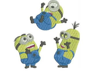 3 Happy Minions - Stuart, Kevin and Bob Instant Download Machine Embroidery Designs - Cartoon Embroidery Design 46