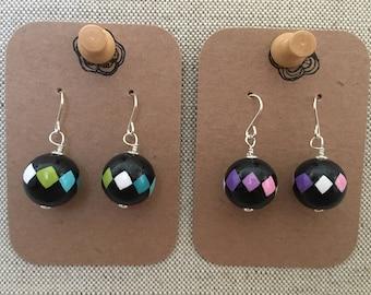 Handpainted wooden bead earrings - solid sterling silver