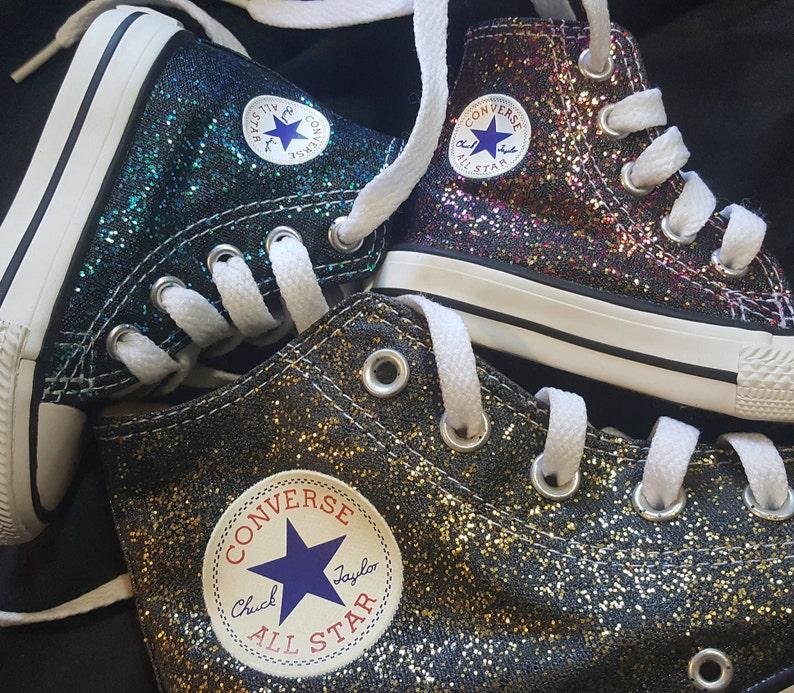 95004c8ec1e8ed Glitter sparkle converse Chuck Taylors Kid sizes Handpainted