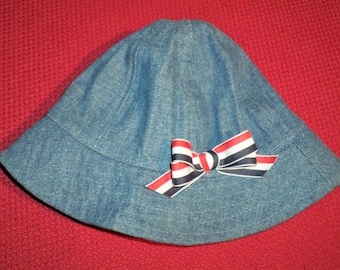 Denim Bucket Hat For Baby - Infant Bucket Hat - Hats For Babies - Lined  Denim Hat For Infants - Red White And Blue Bow On Denim Bucket Hat fb2ff848c69f