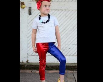 Harley Quinn inspired  Suicide squad Red Blue metallic legging
