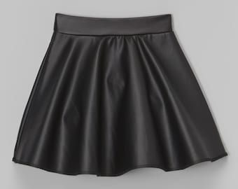 Dreaming Kids Black Faux Leather Skirt