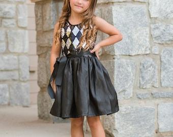 Dreaming Kids Black Silver Sequin Dress