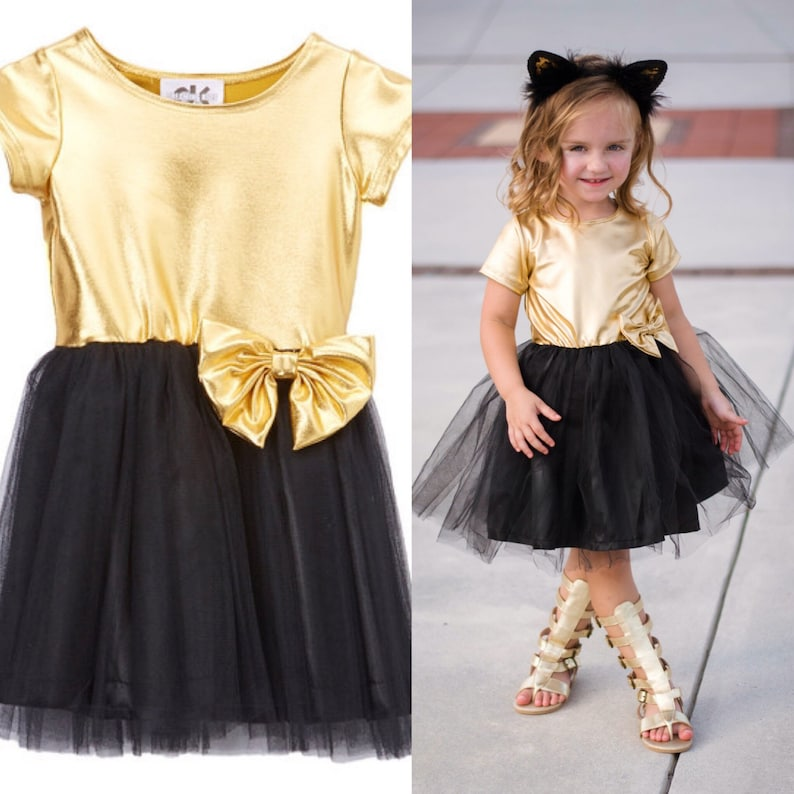 Dreaming Kids Gold & Black Tutu Cap Sleeve Dress  Infant image 0