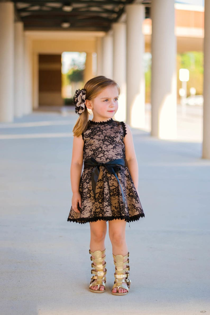 Tan and Black Bow Lace Dress image 0
