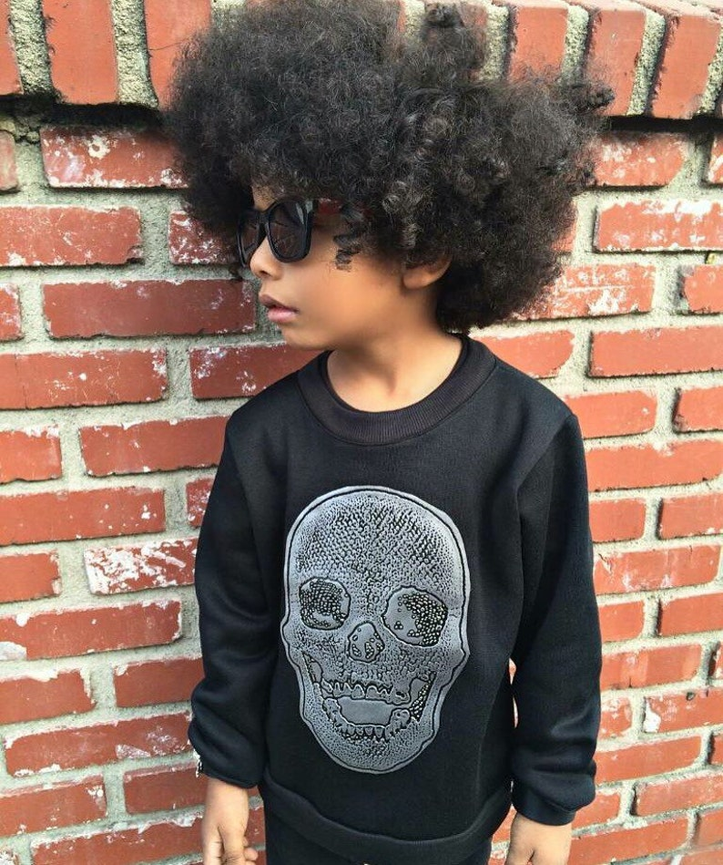 Dreaming Kids metallic silver Skull Patch Sweater  Infant image 0