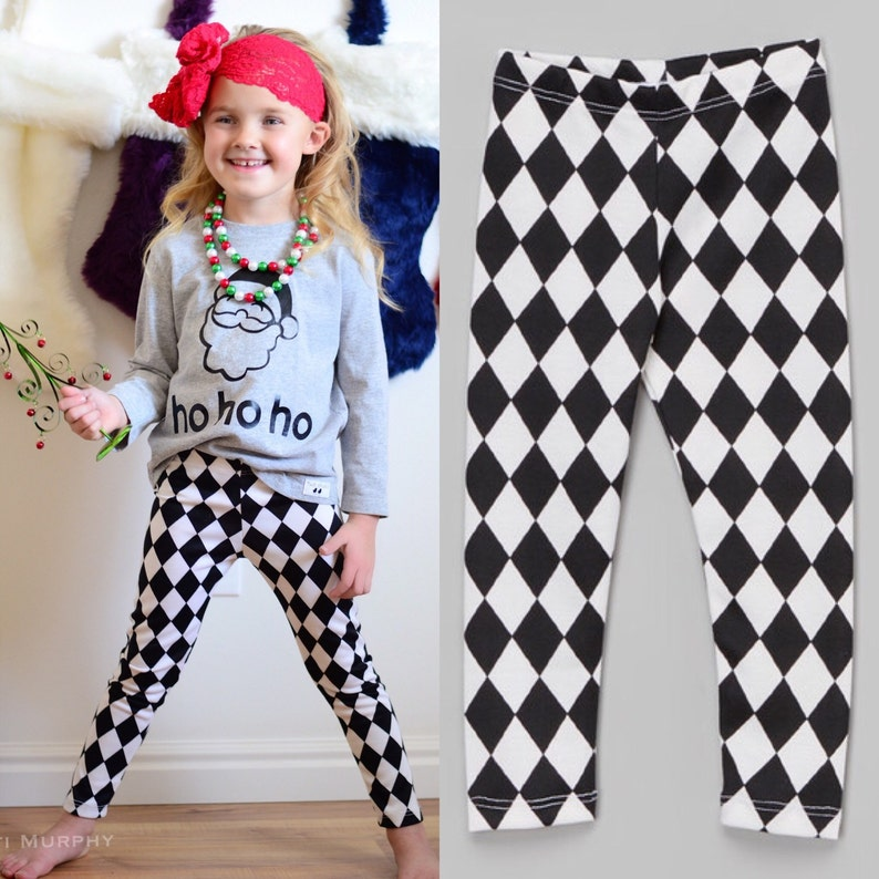Dreaming Kids Black and off White Checker leggings Harley image 0