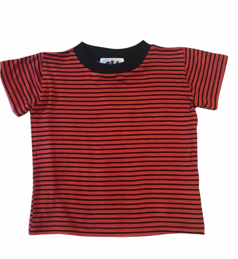 Calvin dark red & Black Stripe Tee rib costume halloween rings image 1