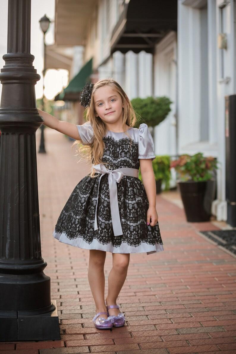 Black Lace silver shinny Dress  Infant Toddler Girls image 0