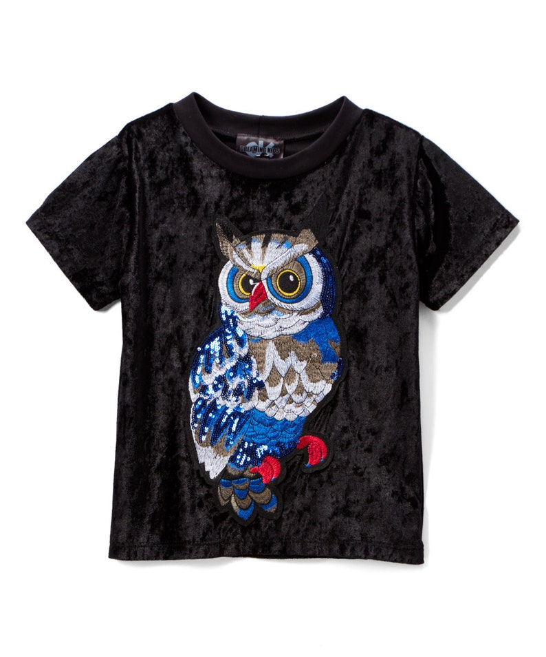 Black Owl Appliqué Velvet Tee  Infant Toddler & Girls unisex image 0
