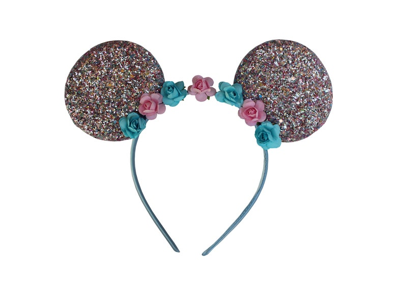 MIckey/Minnie inspired pink/light blue glitter ears w/floral image 0