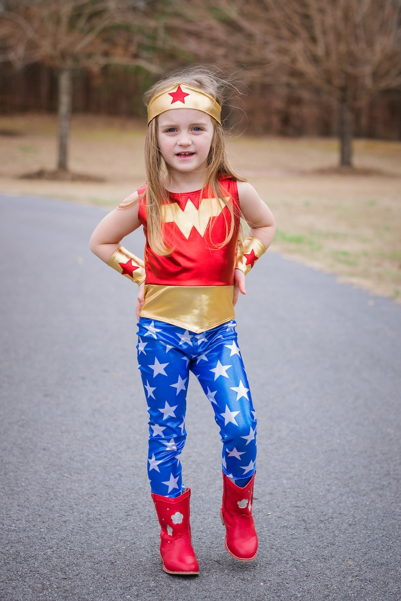 Girls wonder woman 3 costume 4th of july  blue and red gold image 0