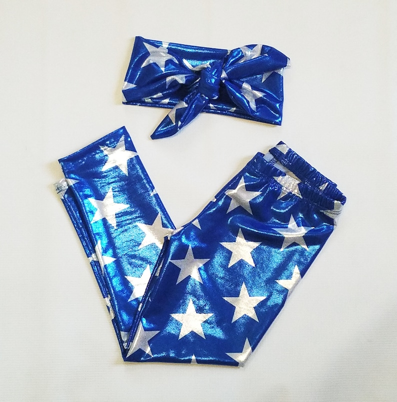 Blue 4th of july Metallic Leggings and Head wrap image 0