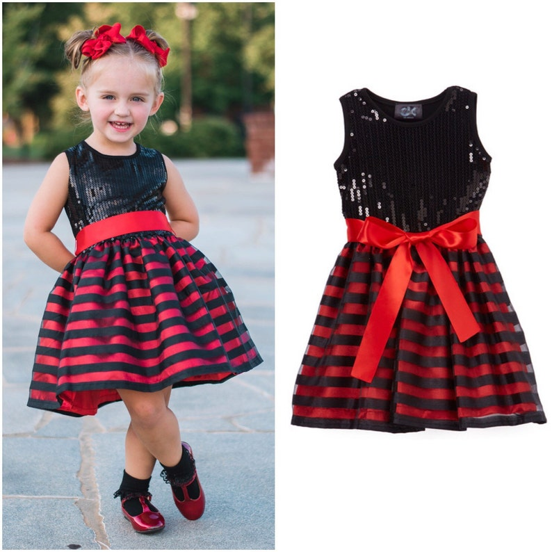 Black & Red Striped Sequin Dress  Infant Toddler Girls image 0