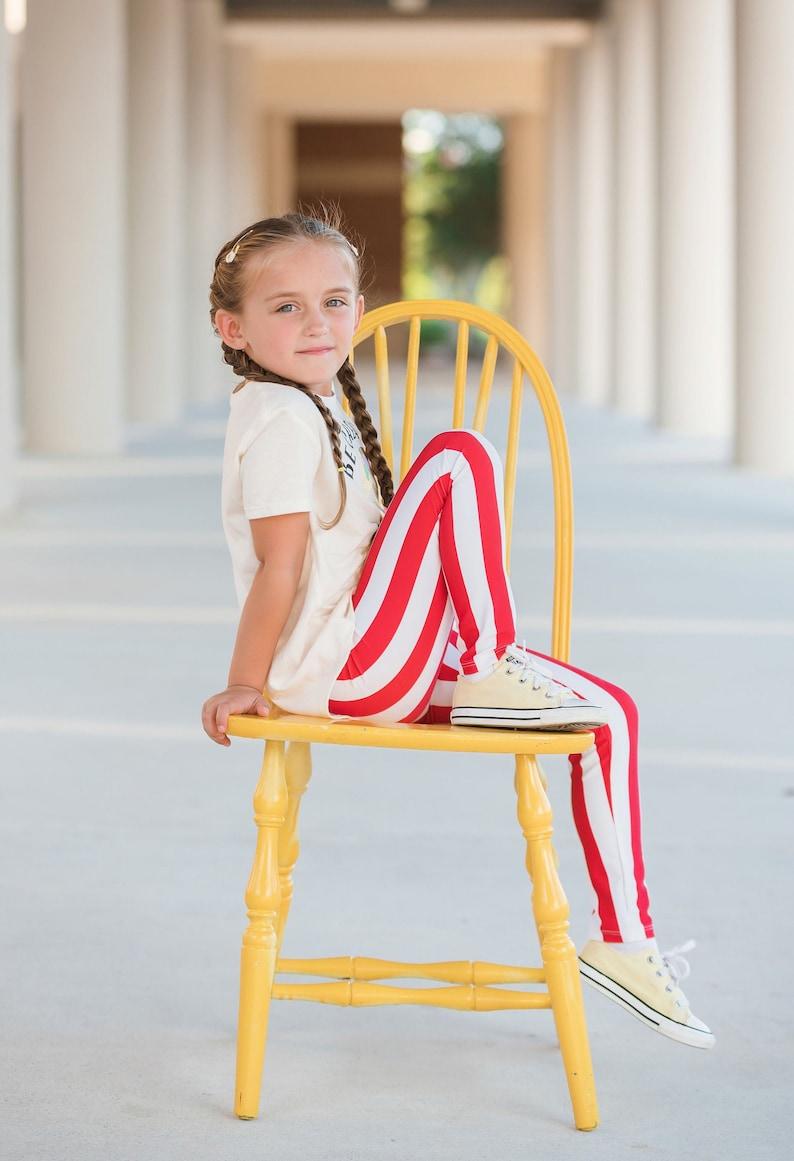 Dreaming Kids Red and White Stripe Leggings  Infant Toddler image 0