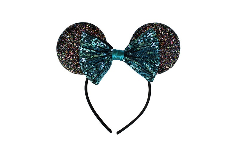 MIckey/Minnie inspired ears w/Sequin bow turq glitter headband image 0