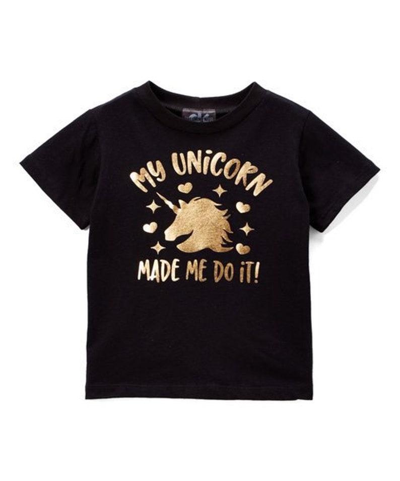 My unicorn made me do it black graphic tee image 0