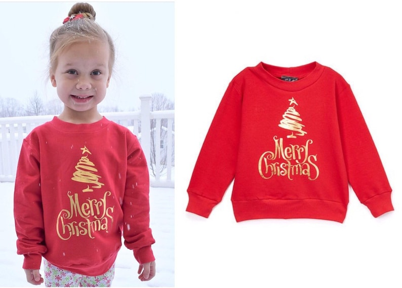 Red Christmas Merry Christmas Print Sweater  image 0