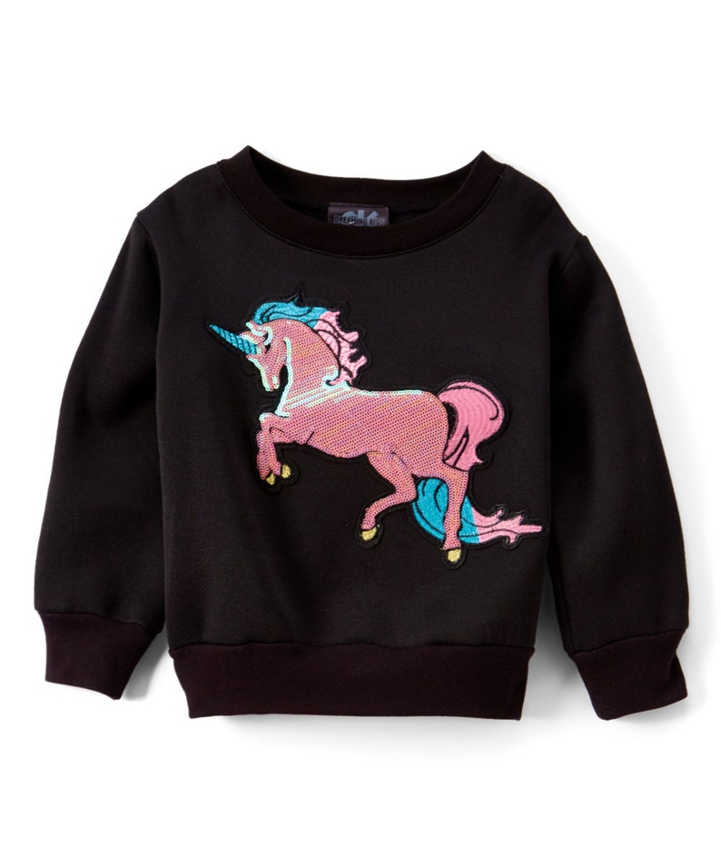 Black Unicorn Pullover  Infant Toddler & Girls image 0