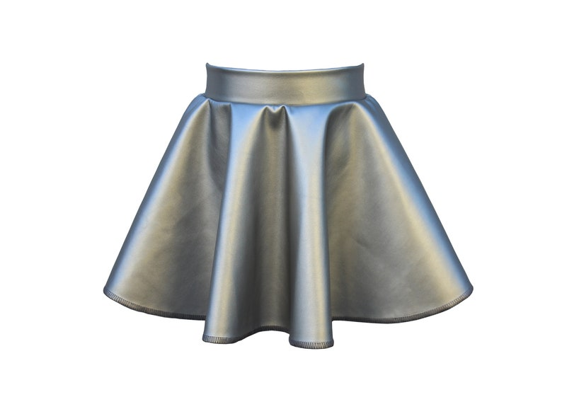Dreaming Kids SILVER Faux Leather Skirt image 0