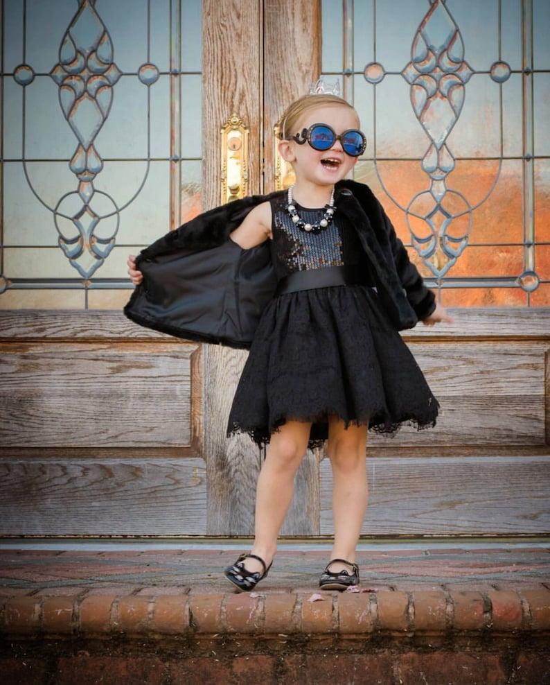 Black Lace Sequin Dress  Infant Toddler Girls image 0