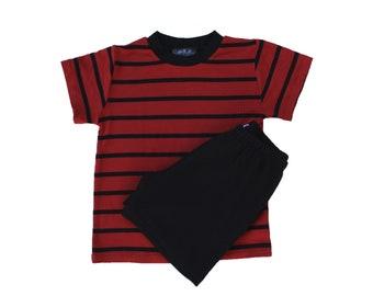 Calvin dark red & Black Stripe Tee rib and black shorts SET costume halloween rings freddy the hobbes peanuts linus