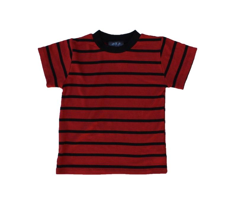 Calvin dark red & Black Stripe Tee rib costume halloween rings image 0