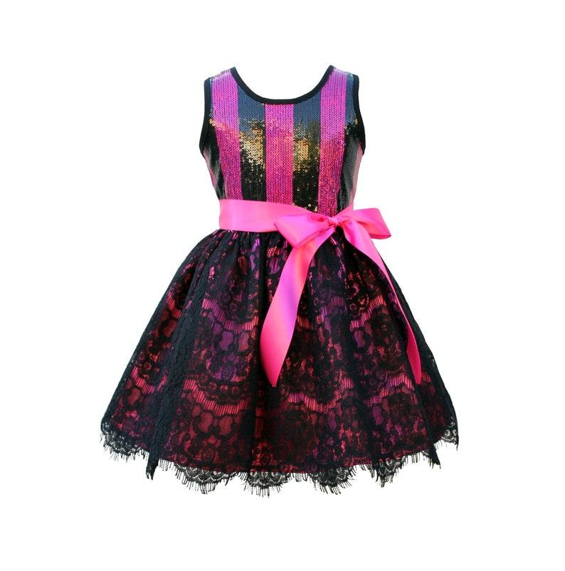 Black & Hot Pink Lace Sequin Dress  Infant Toddler Girls image 0