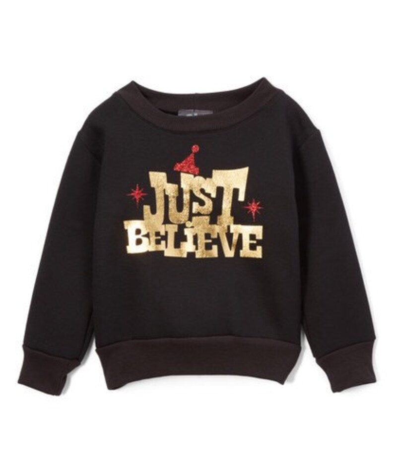 Black Christmas Just Believe Print Sweater  image 0