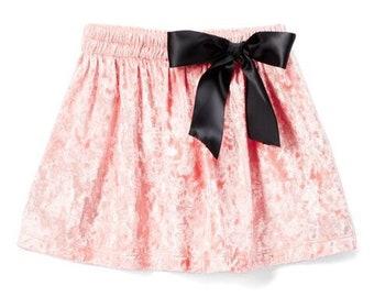 Pink Velvet With Black Bow Skirt