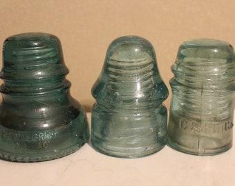 Set of 3 Vintage Glass Insulators