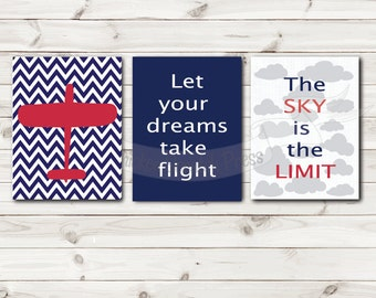 Set of 3 The sky is the limit, red airplane blue chevron, Let your dreams take flight prints, subway art, nursery, child, bedroom, Digital