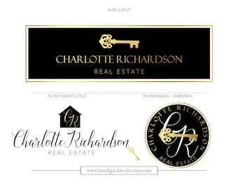 Realtor logo etsy logo watermark branding kit package design no 113 gold black keys house realtor real estate broker staging interior design blog colourmoves