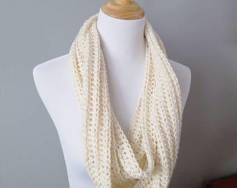 Crochet Infinity Scarf - Cowl - Cream - Gold Sparkle - Hygge - Winter