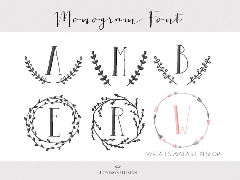 Elegant Monogram Embroidery Font Four Sizes 1inch 2inch 3inch Etsy